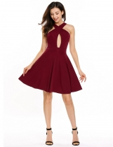 Wine red Crossing V-Neck Sleeveless Solid Sexy Skater Dress