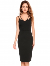 Black Sleeveless Solid Bodycon Spaghetti Straps Dress