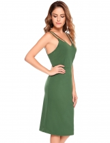 Green Sleeveless Solid Bodycon Spaghetti Straps Dress