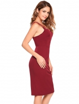 Wine red Sleeveless Solid Bodycon Spaghetti Straps Dress