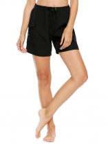 Black Drawstring High Waist Solid Beach Shorts with Pocket