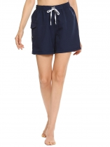 Dark blue Drawstring High Waist Solid Beach Shorts with Pocket