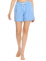 Sky blue Drawstring High Waist Solid Beach Shorts with Pocket
