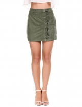 Dark green Casual Solid Side Cross-Strap Lint Elastic Skirt