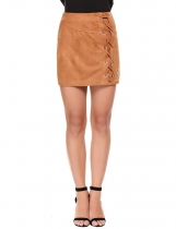 Khaki Casual Solid Side Cross-Strap Lint Elastic Skirt