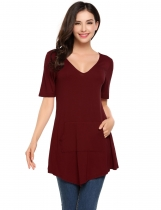 Wine red V-Neck Short Sleeve Pocket Solid Pullover Tops