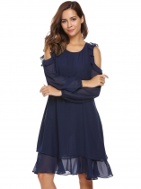 Navy blue Cold Shoulder Long Sleeve Ruffle Chiffon Dress