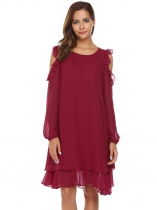 Wine red Cold Shoulder Long Sleeve Ruffle Chiffon Dress