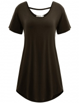 Coffee Double Crew Neck Solid Short Sleeve Loose-fit Tunics