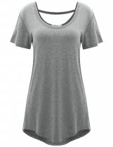 Light gray Double Crew Neck Solid Short Sleeve Loose-fit Tunics