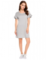 Grey O-Neck Ruffle Sleeve Solid Loose Dress