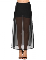 Black Solid Side Zipper Hem Split See Through Chiffon Skirt