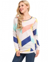 White Contrast Color Geometric Long Sleeve Button Pullover Top