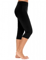 Black Solid Stretch Tights Skinny Capri Legging for Swimming