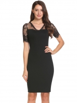 Black V-Neck Lace Patchwork Pencil Dress