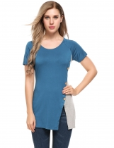Blau Frauen Casual O-Neck Kurzarm Patchwork Split Button T-Shirt