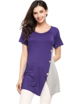 Purple O-Neck Short Sleeve Contrast Color Split Hem Buttoned T-Shirts