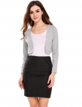 Light gray Front Open Long Sleeve Solid Shrug Jackets