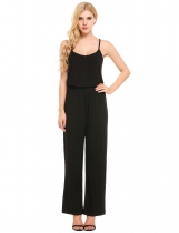 Black Spaghetti Strap Sleeveless Elastic Waist Full Length Sexy Jumpsuits