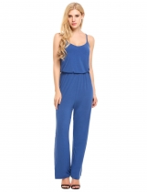 Blue Spaghetti Strap Sleeveless Elastic Waist Full Length Sexy Jumpsuits