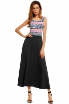 Black Sleeveless Prints Patchwork Maxi Tank Dress