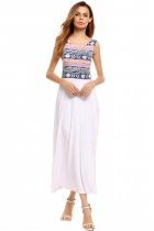 White Sleeveless Prints Patchwork Maxi Tank Dress