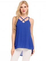 Blue Spaghetti Strap Sleeveless Loose Solid Pullover Chiffon Camisole