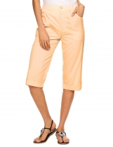 Wheat High Waist Solid Slim Casual Capri Pants