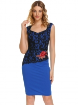 Blue Pentagon Neck Sleeveless Lace Embroidery Dress