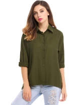 Green High Low Hem Solid Loose Button Down Shirt