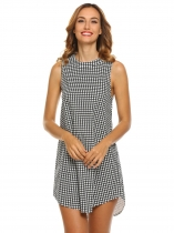 Black white Women Halter Sleeveless Backless Plaid Cocktail Party Loose A-Line Dress