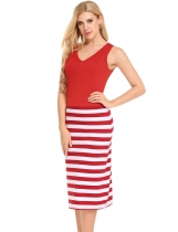 Red Stripes Patchwork Slim Fit Sleeveless V-Neck Dress