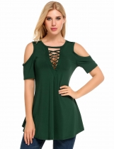 Army green Cold Shoulder Short Sleeve Hollow Solid Casual Slim Tops