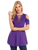 Purple Cold Shoulder Short Sleeve Hollow Solid Casual Slim Tops