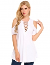 White Cold Shoulder Short Sleeve Hollow Solid Casual Slim Tops