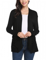 Black Collarless Long Sleeve Solid Pleated Pockets Elastic Cardigan