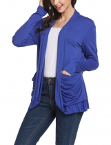 Blue Collarless Long Sleeve Solid Pleated Pockets Elastic Cardigan