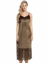 Coffee Spaghetti Straps Lace Hem Design Patchwork Dress