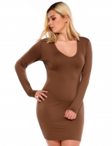 Brown Long Sleeves Bodycon Solid Pencil Dress