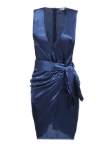 Royal Blue Deep V-Neck Sleeveless Solid Dress with Belt