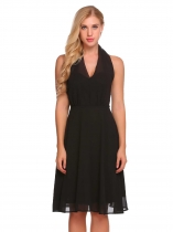Black Halter Sleeveless Solid Backless Chiffon Dress