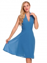 Blue Halter Sleeveless Solid Backless Chiffon Dress