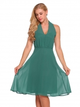 Green Halter Sleeveless Solid Backless Chiffon Dress