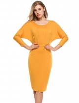 Yellow Women Batwing à manches longues Ruched Bodycon Pencil Short Dress
