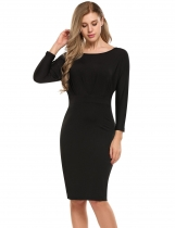 Black Batwing Long Sleeve Ruched Bodycon Dress