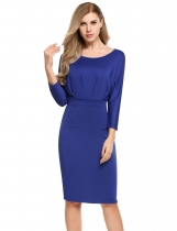 Blue Women Batwing Long Sleeve Ruched Bodycon Pencil Short Dress