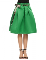Green Retro Style Pleated Solid Metal Loops Skirt with Belt