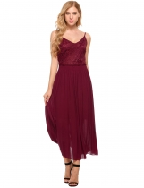 Wine red Backless Spaghetti Strap Lace Patchwork Beach Maxi Dress