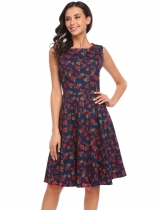 Navy blue Vintage O-Neck Sleeveless Print Cocktail Skater Dress