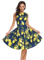 Yellow Femmes jaunes Vintage Style O Neck sans manches Print Cocktail Party Skater Dress